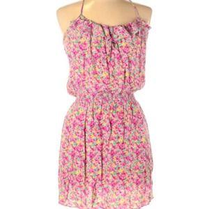 Parker Floral Pink Silk Racerback Cami Mini Dress